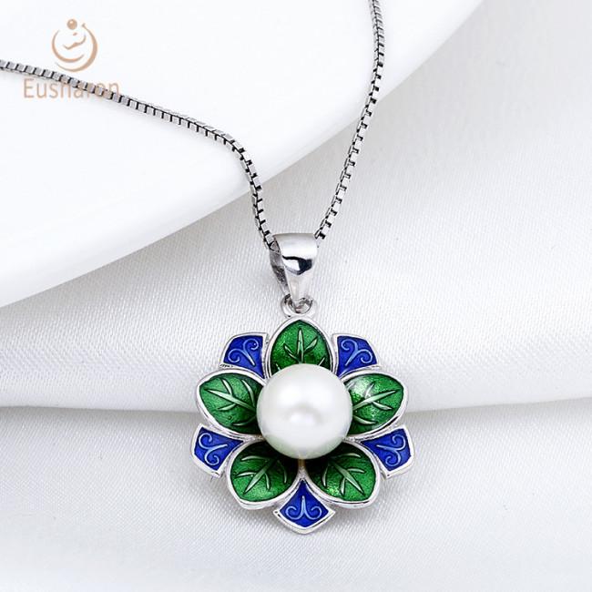 Violet Flower Sterling Silver Pearl Mount Pendant
