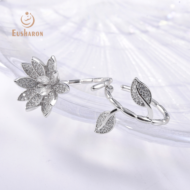 Two-finger Thorn Flower Sterling Silver Pearl Ring