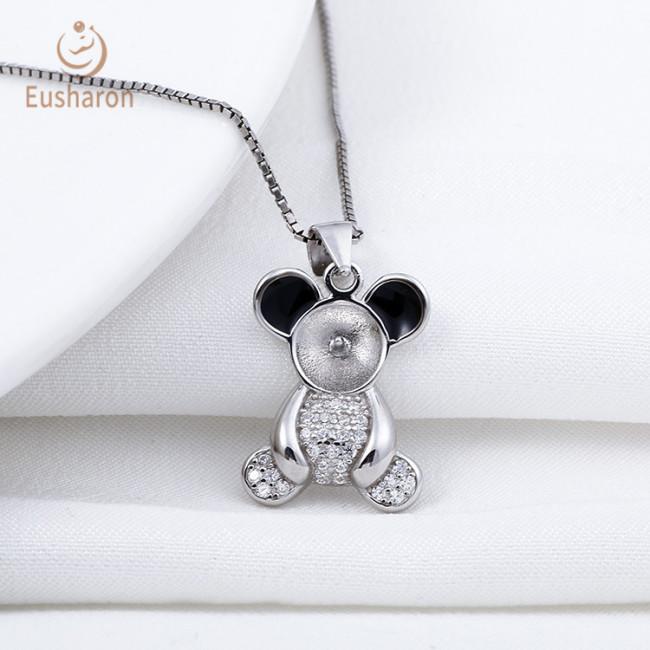 Trendy Fashion Black Ear Bear Sterling Silver Pearl Mount Pendant