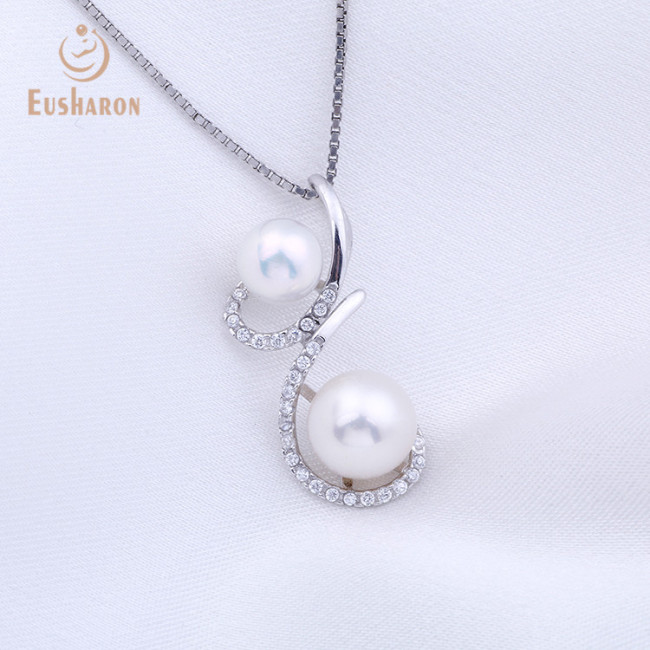 Twin Flowers Sterling Silver Pearl Mount Pendant