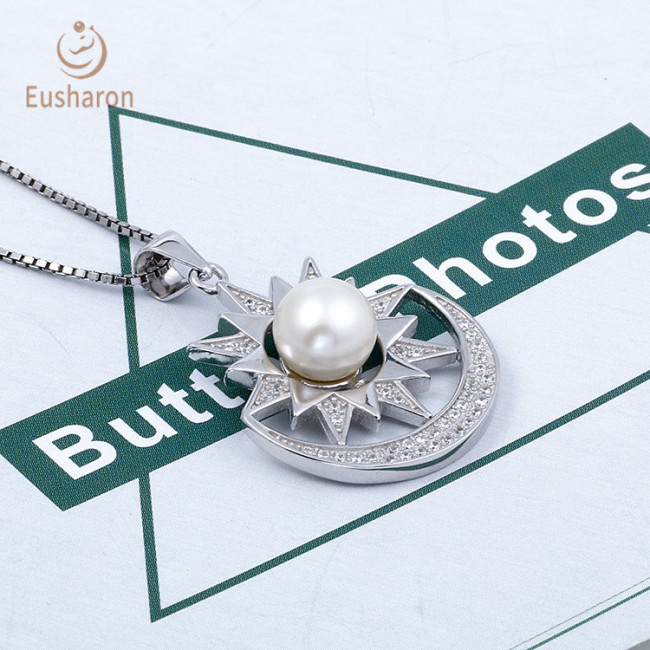 Sun And Moon Sterling Silver Pearl Mount Pendant