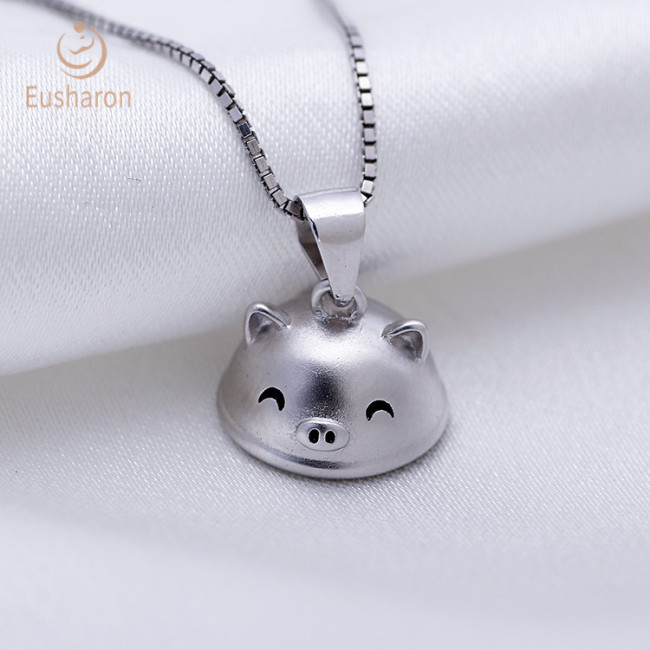 Smiling Pig Sterling Silver Pearl Pendant