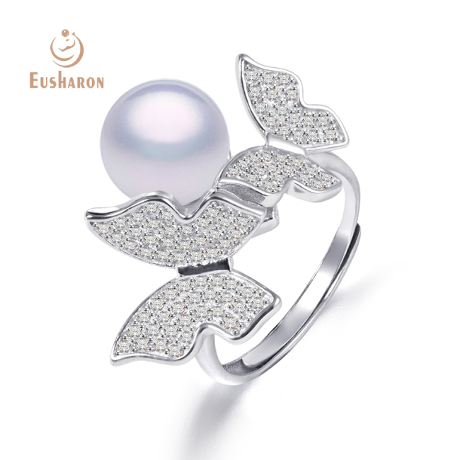 Two Butterflies Sterling Silver Pearl Ring