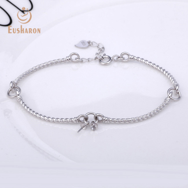 S925 Surround Design Double Beads Sterling Silver Pearl Bracelet