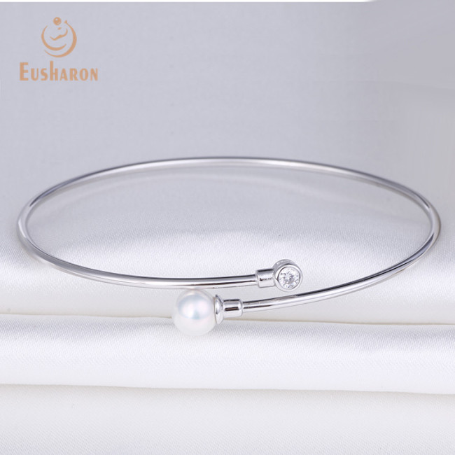 S925 Simple Single Bead Sterling Silver Pearl Bracelet