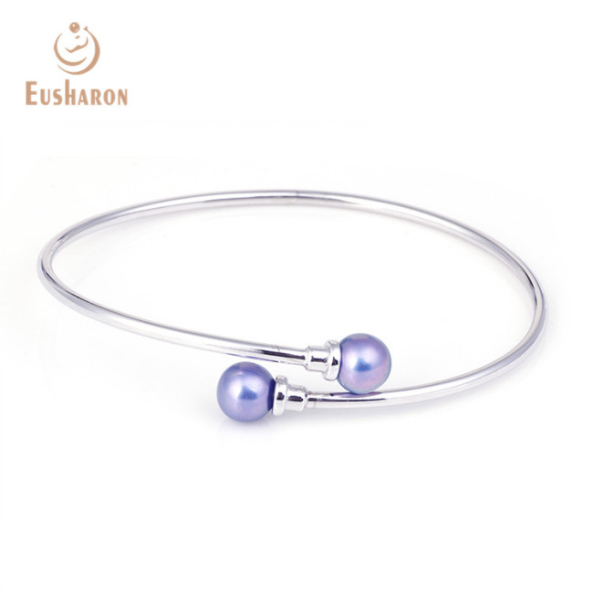 S925 Simple Double Beads Sterling Silver Pearl Bracelet