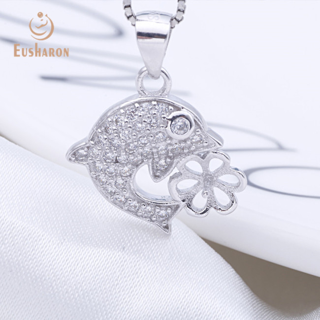 Zircon Dolphin Sterling Silver Freshwater Pearl Pendant