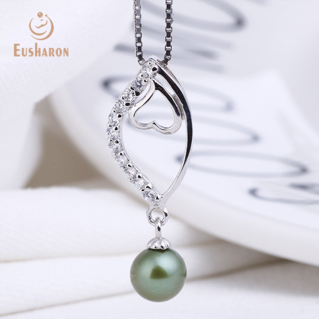Zircon Curved Love Sterling Silver Freshwater Pearl Pendant