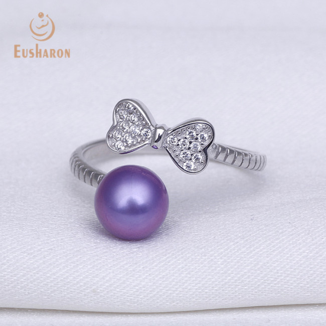 ZC Bow Tie Adjustable Sterling Silver Pearl Ring
