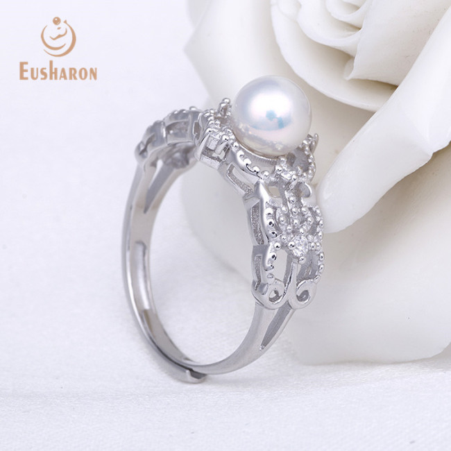 ZC Hollow Out Palance Adjustable Sterling Silver Pearl Ring