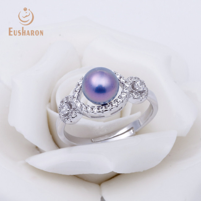 ZC Classical Round Adjustable Sterling Silver Pearl Ring