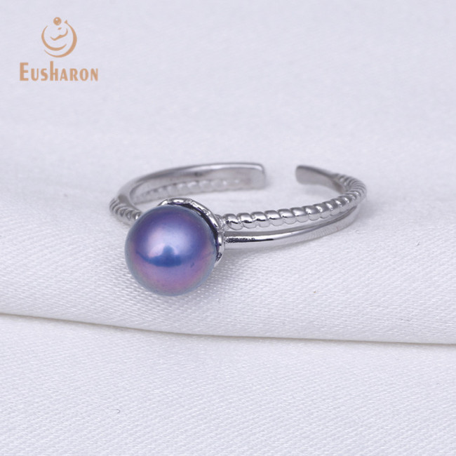 Twisted Opening Adjustable Sterling Silver Pearl Ring