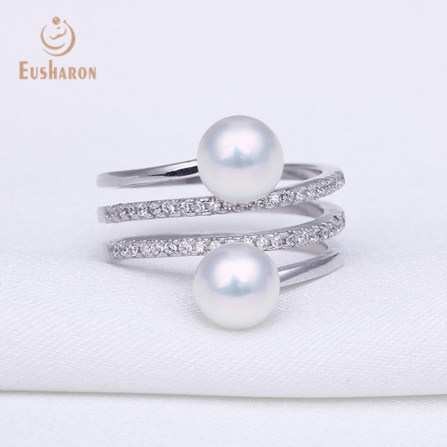 ZC Multi-line Thred Adjustable Sterling Silver Pearl Ring