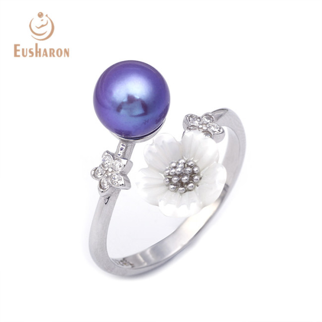 Zircon Shell Flower Sterling Silver Freshwater Pearl Ring
