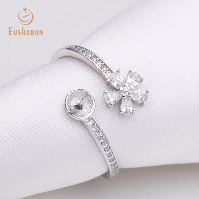 Zircon Flower Sterling Silver Freshwater Pearl Ring