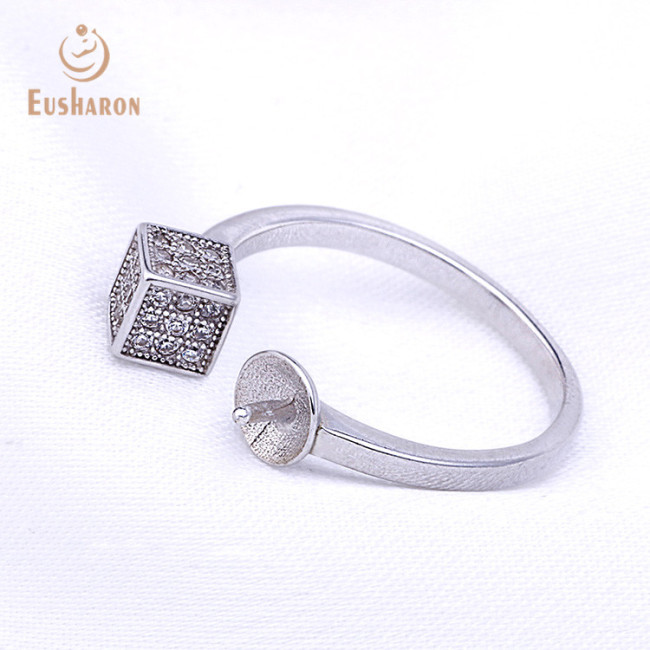 Zircon Cubes Adjustable Sterling Silver Freshwater Pearl Ring