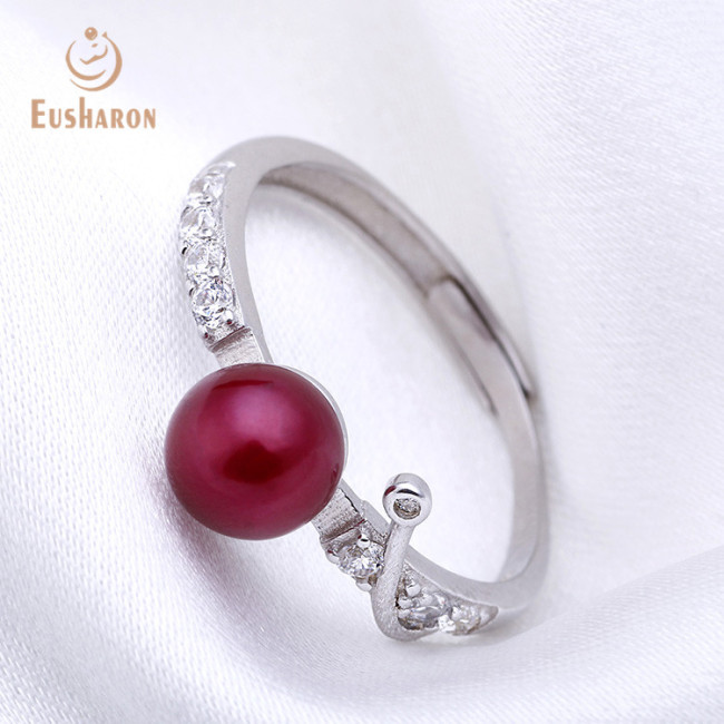 Zircon Tail Sterling Silver Freshwater Pearl Ring
