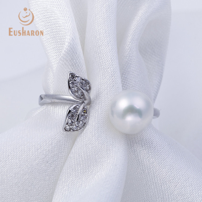 Young Leaves Sterling Silver Freshwater Pearl Ring Mounting