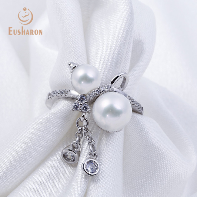 Twin Flowers Sterling Silver Freshwater Pearl Ring Mounting