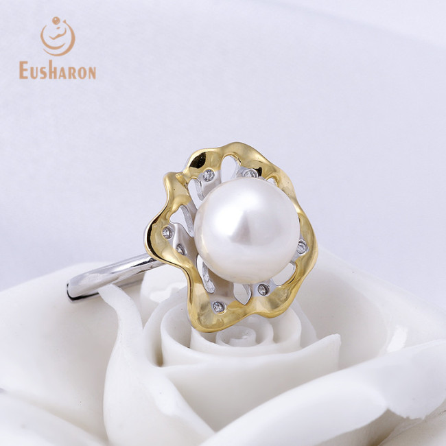 Yellow Flower Sterling Silver Freshwater Pearl Ring