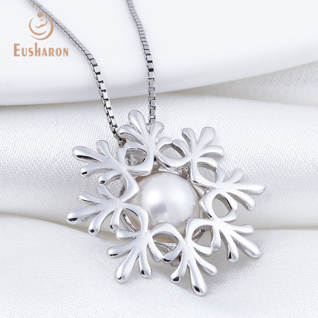 Snowflake Sterling Silver Pearl Cage Pendant Necklace