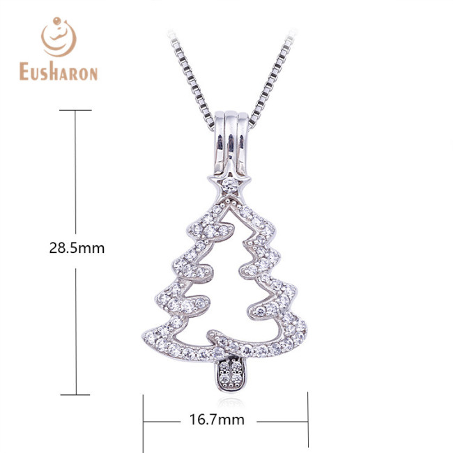 Simple Christmas Tree Sterling Silver Pearl Cage Pendant Necklace