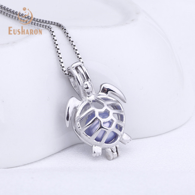 Tortoise Sterling Silver Pearl Cage Pendant Necklace