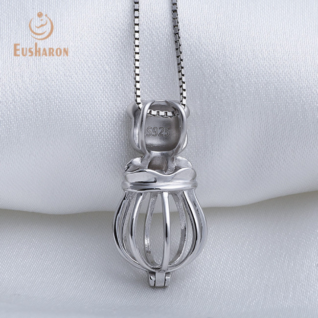 Pig On Hot Air Balloon Sterling Silver Cage Pendant Necklace