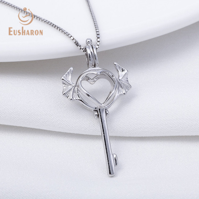 Wings Love Lock Sterling Silver Cage Pendant Necklace