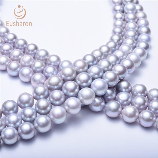 9-10mm Silver Grey Round Edison Pearl Strand