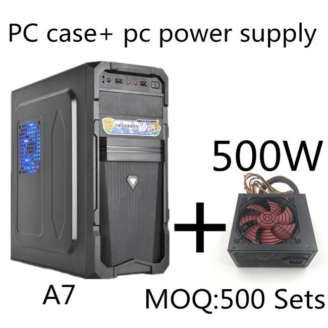 Desktop Computer Mainframe A7 ATX Game Empty Computer Case+500W power supply