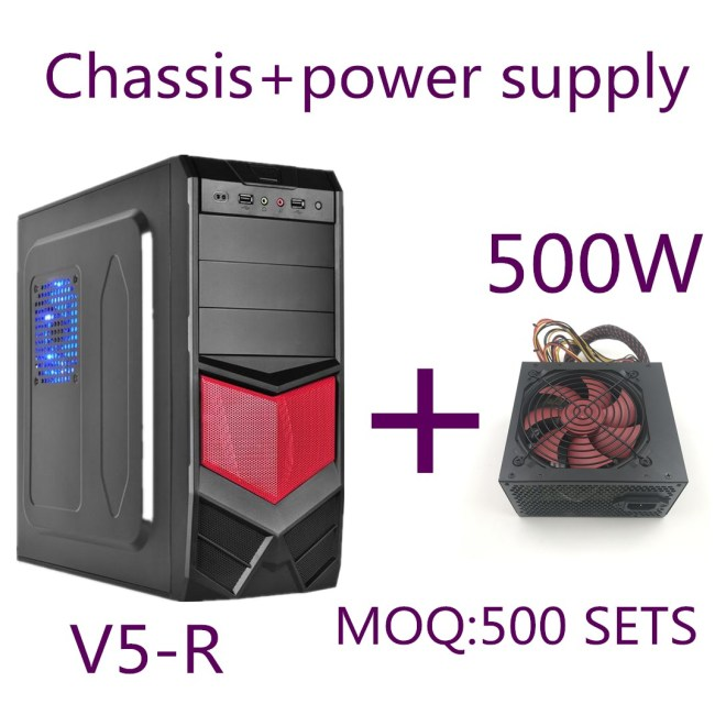 V5 Red New Design Tower ATX Computer Case+500W power supply