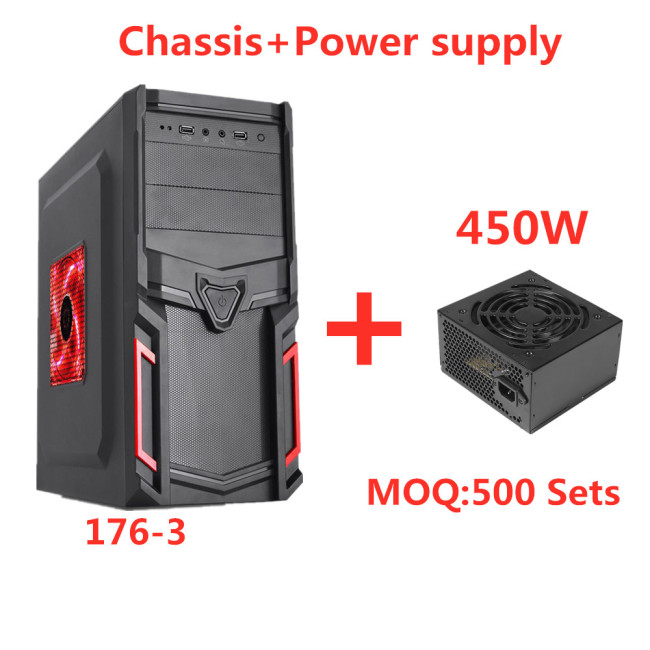 Shield-Type Panel New Design computer Gaming Case Full Tower ATX PC Case+450W power supply