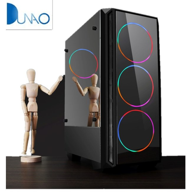 Internet cafe standard large chassis double mirror glass USB3.0 gaming computer chassis with black color
