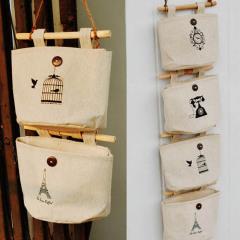 1 Pc 17*20cm Wall Hanging  Home Decor Cosmetics  Storage Bag Hanging Organizer Cotton Linen Sundries Storage Pockets