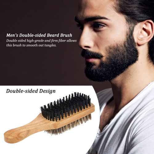 Men's Beard Brush Double-sided Facial Hair Brush Shaving Comb Male Mustache Brush Solid Wood Handle for Home Decore