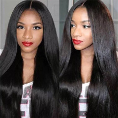 Wig long straight hair split black wig female long hair waist