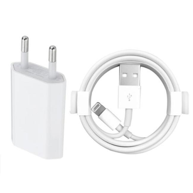 EU Wall Charger + USB Charging Cable for iPhone 6 6S 7 8 Plus X XS MAX XR 1m USB Data Cables for iPhone 5 5S Charge Adapter