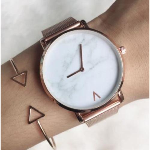 Creative Mesh Band Marble Quartz Watch Casual Women Stainless Steel Wristwatches Relogio Feminino Drop Shipping