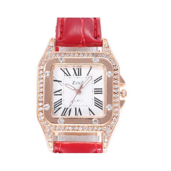 High-end fashion square diamond female belt watch simple Roman numeral water diamond British female watch