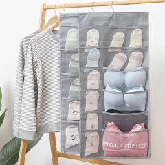 Storage hanging bag Oxford cloth wall hanging dormitory double-sided underwear socks bra storage 15 grid 30 grid hanging bag
