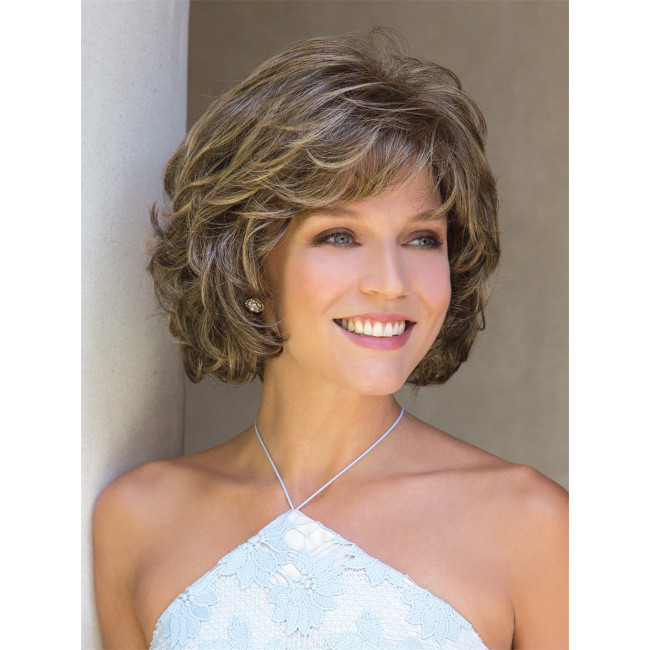 European and American middle-aged women mixed color wig short curly hair wig headgear