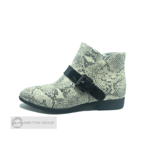 Snakeskin Zip Flat Ankle Boots