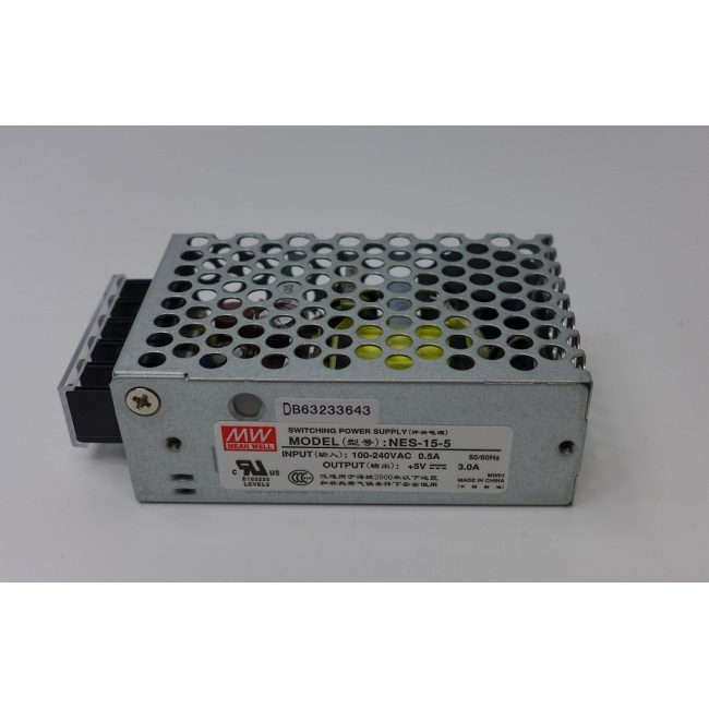 Switching power supply, Mean well, NES-15-5, input 100-240V, output 5V, 3.0A