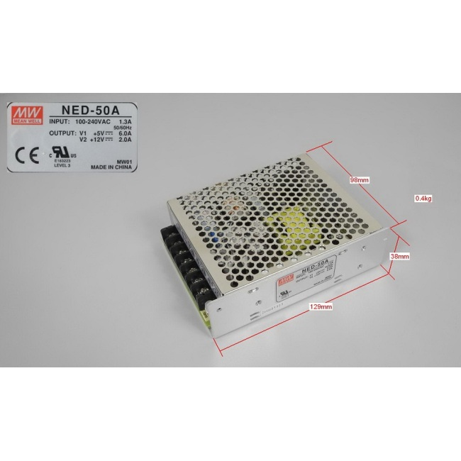 Switching power supply, Mean Well, NED-50A, 5V12V, 6A2A     100-240V