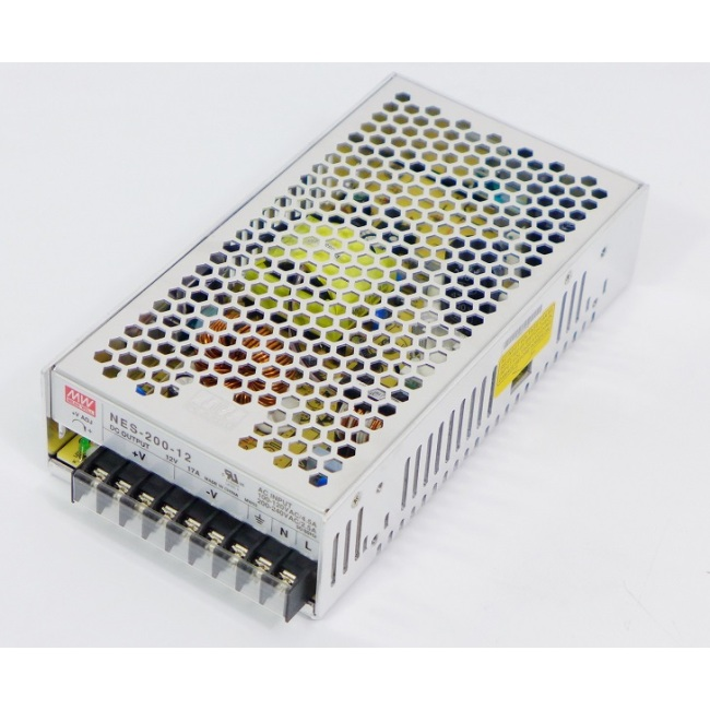 Switching power supply, Mean well, NES-200-12,  input 100-240V, output 12V, 17A