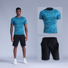 men's camouflage fitness quick drying basketball training short sleeve sports T-shirt