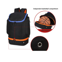 Blank sports basketball backpack with independent ball compartment