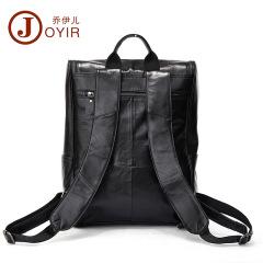 New leather men's bag Korean fashion casual men's double shoulder bag top layer leather black computer backpack