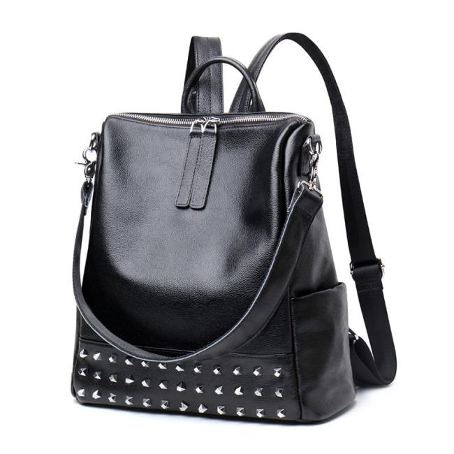 Korean fashion 2019 new leather women's bag personalized rivet cowhide Bag Fashion versatile backpack bag for women